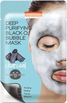 Маска кислородная очищающая угольная для лица Purederm Deep Purifying Black Q2 Bubble Charcoal 20 г (8809411188473)
