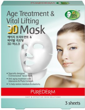 Набор 3D масок - антивозрастные подтягивающие Purederm Age Treatment&Vital Lifting 3D Mas 3 саше х 35 г (8809052586928)