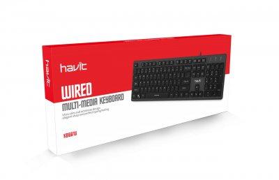 Ультратонка клавіатура HAVIT HV-KB661U, USB, black