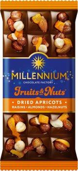 Упаковка молочного шоколада Millennium Fruits&Nuts с миндалем, цельным лесным орехом, курагой и изюмом 80 г х 22 шт (5902574395085)