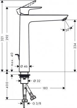 Змішувач для раковини HANSGROHE Talis E 71716000