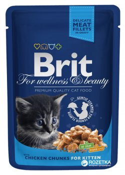 Влажный корм для котят с курицей Brit premium Pouches chicken chunks for kitten 100 г