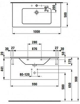 Тумба LAUFEN Pro S 4.8353.1 100x44 з умивальником 8.1796.7 100 см білий глянець
