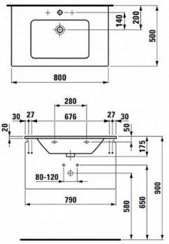 Тумба LAUFEN Pro S 4.8347.1 80x44 з умивальником 8.1796.5 80 см білий глянець