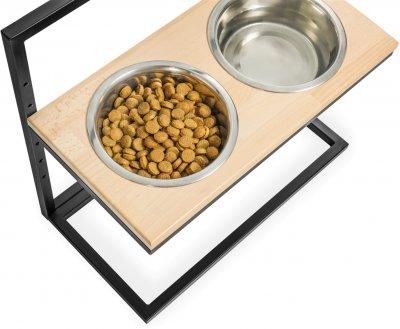 Підставка на дві миски для собак Harley and Cho Lift M 0.75 л 30 см Натуральна з чорним (3300164)