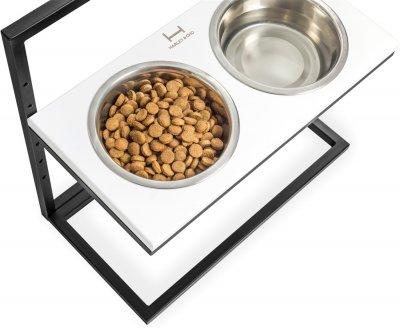 Підставка на дві миски для собак Harley and Cho Lift M 0.75 л 30 см Чорна з білим (3300176)