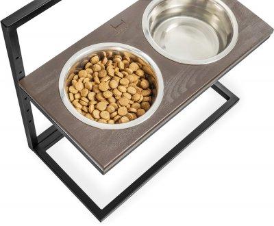 Підставка на дві миски для собак Harley and Cho Lift M 0.75 л 30 см Коричнева з чорним (3300169)