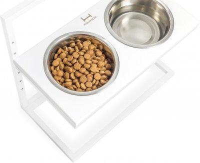 Підставка на дві миски для собак Harley and Cho Lift L 1.8 л 50 см Біла (3300179)