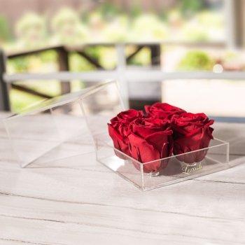 Стабилизированный бутон роза в коробке Lerosh - Standart, 4 шт., Красный