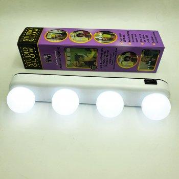 Светодиодная подсветка для зеркала LED лампа для нанесения макияжа 4xAA STUDIO GLOW 4 лампы Белая