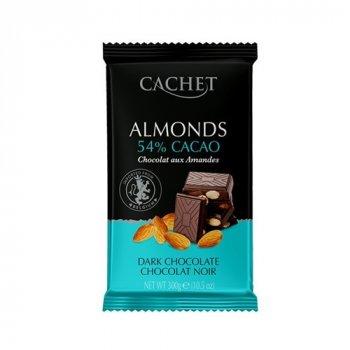 Шоколад черный с миндалем CACHET 300г (00-00001253)