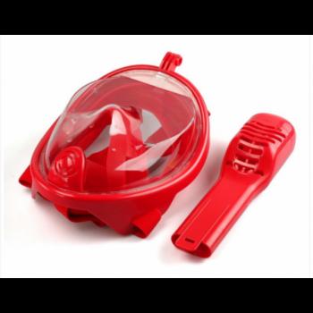 Панорамная маска для плавания + ласты (комплект) GTM FREE BREATH (S/M) с Ластами Красная с креплением для камеры и Ласты BestWay 27023 Синие
