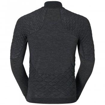 Термофутболка Odlo L/S Turtle Neck 1/2 Zip Natural + X-Warm 110212 Black Melange