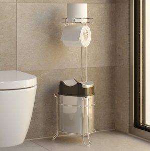 Держатель для туалетной бумаги TEKNO-TEL MG098 с пластиковым ведром напольный хром
