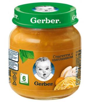 Пюре Gerber Спагеті з курчам 125 г (12130207)