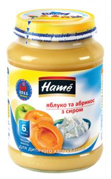 Пюре Hame яблуко і абрикос з сіром, 190 г (23601061760101)