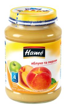 Фруктове пюре Hame яблуко і персик 190 г (23600041760101)