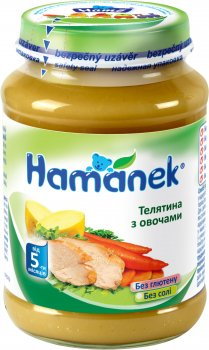 Пюре Hamanek Телятина з овочами 190 г (23606421760063)