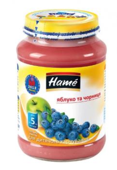 Фруктове пюре Hame яблуко і чорниця 190 г (23600081760101)
