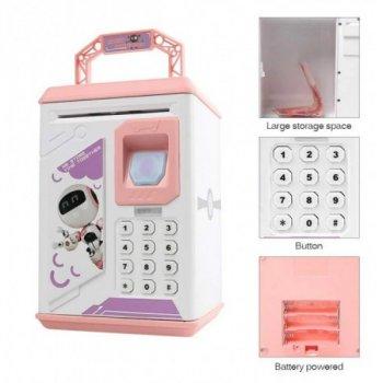 Дитячий електронний сейф-скарбничка Робот ROBOT BODYGUARD з відбитком пальця, рожевий
