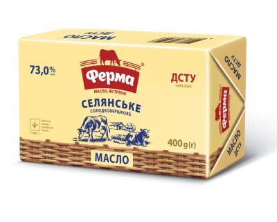 Масло солодковершкове Селянське 73% ФЕРМА, брикет 400 г