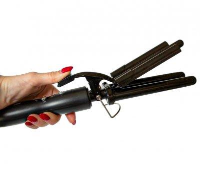 Потрійна плойка хвиля волосся, щипці три хвилі Pro Mozer Ceramic nano titanium MZ 6621 чорний