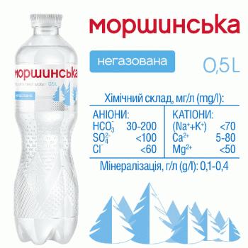 """Упаковка мінеральної природної столової негазовоної води """"Моршинська"""" 0,5 л х 12 пляшок"""