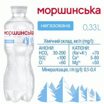 """Упаковка мінеральної природної столової негазовоної води """"Моршинська"""" 0,33 л х 12 пляшок"""