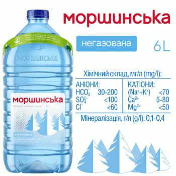 """Упаковка мінеральної природної столової негазовоної води """"Моршинська"""" 6,0 л х 2 пляшки"""