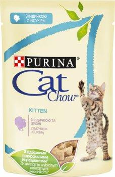 Влажный корм для котят Purina Cat Chow Kitten кусочки в желе с индейкой и цуккини