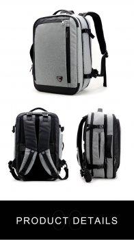 Чоловічий рюкзак-трансформер для бізнесу 3в1 Arctic Hunter B00210 з кодовим замком, темно-сірий, 32л
