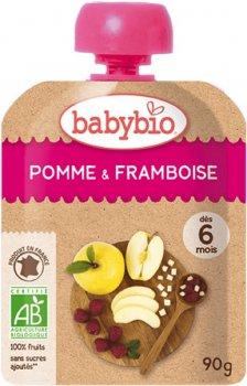 Упаковка дитячого пюре Babybio Органічного з яблука та малини з 6 місяців 90 г х 4 шт. (3288137540164_3288131540160)
