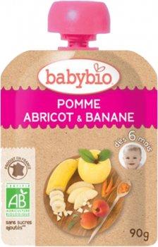 Упаковка дитячого пюре Babybio Органічного з яблука, абрикоси та банана з 6 місяців 90 г х 4 шт. (3288131540122)