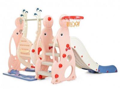 Детская горка-качель Bambi WM19020-8 Pink-Blue (WM19020-8 pink/blue) (6903317252640)