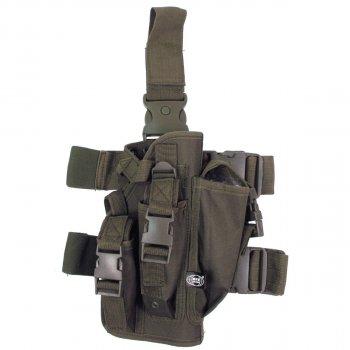 Кобура для пистолета тактическая с подсумками, с креплениями к ноге и ремню MFH олива (тёмно-зелёная) (30711B)