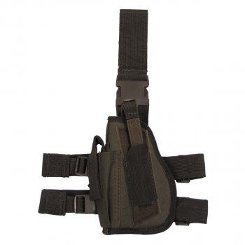 Кобура для пистолета набедренная регулируемая левосторонняя MFH олива (тёмно-зелёная) (30726B)