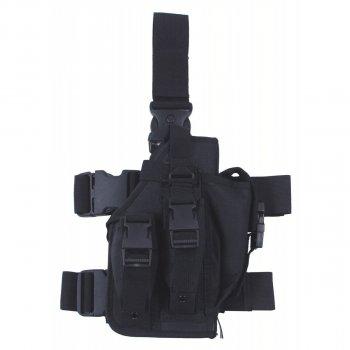 Кобура для пистолета тактическая с подсумками, с креплениями к ноге и ремню MFH чёрная (30711A)