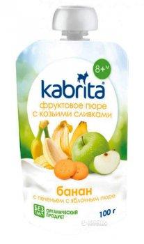 Упаковка фруктового пюре з козячими вершками Kabrita Банан з печивом і яблучним пюре з 8 місяців 6 х 100 г (8716677006918)