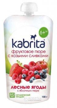 Упаковка фруктового пюре з козячими вершками Kabrita Лісові ягоди з яблучним пюре з 6 місяців 6 х 100 г (8716677006895)