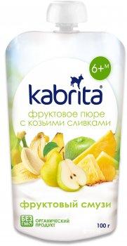 Упаковка фруктового пюре з козячими вершками Kabrita Фруктове смузі з 6 місяців 6 х 100 г (8716677007182)