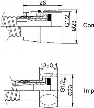 Шланг душевой RUBINETA SS Con/Imp 150 см 600014