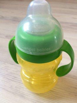 """Кружка тренувальна """"Сніговичок"""" з м'яким носиком і ручками, Canpol babies, зелено-желт."""