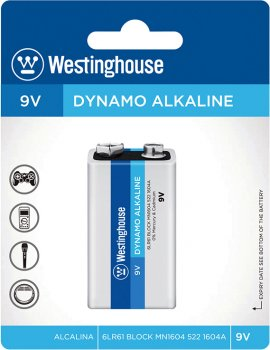 Щелочная батарейка Westinghouse Dynamo Alkaline 9V/6LR61 Крона 1 шт (889554000045)