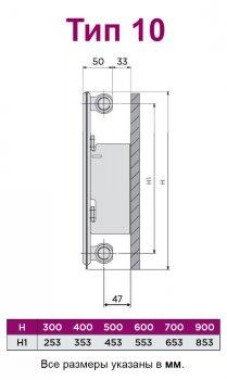 Радиатор стальной QUINN SENSA тип 10 500x800 мм (Q10508RT)