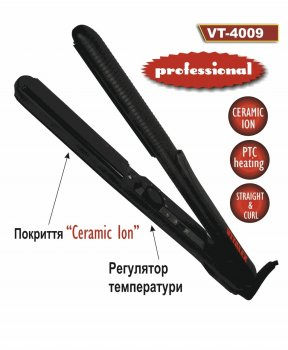 Плойка для завивки волосся Vitalex VT 4009 професійний випрямляч волосся