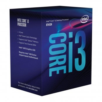 Процесор Intel Core i3 LGA1151 i3-8100 Box 4x36 GHz UHD Graphic 630 1100 MHz L3 6Mb Coffee Lake 14 nm TDP 65W (BX80684I38100)