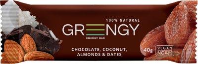 Упаковка батончиков Greengy Финики, Шоколад, Кокос и Миндаль 12 шт х 40 г (4820221320529)