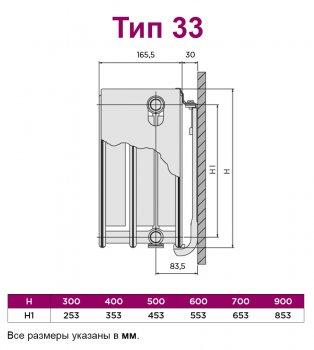 Радиатор стальной QUINN Integrale тип 33 900x1400 мм (Q33914VSKD)