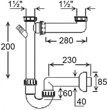 """Сифон для двойной мойки Ghidini DN40 х 1 1/2"""" с подключением стиральной машины (141)"""
