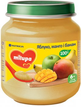 Упаковка фруктового пюре Milupa Яблуко, манго і банан з 6 місяців 6 шт. х 125 г (8591119003782)